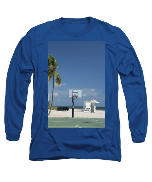 Basketball Goal On The Beach Long Sleeve T-Shirt