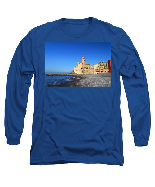 Long Sleeve T-Shirt featuring the photograph beach and church in Camogli by Antonio Scarpi
