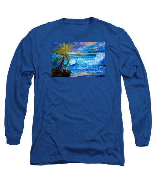 Long Sleeve T-Shirt featuring the painting Beach Sunset In Hawaii by Jenny Lee
