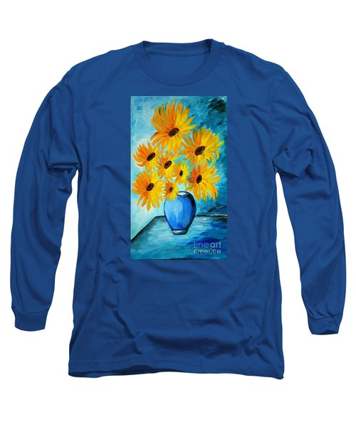 Beautiful Sunflowers In Blue Vase Long Sleeve T-Shirt by Ramona Matei