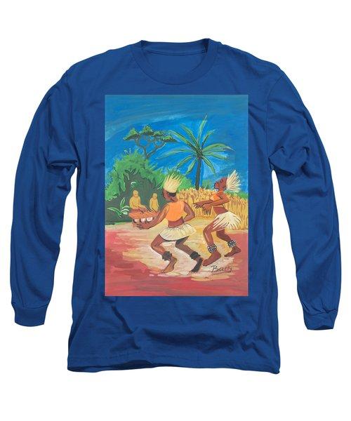 Long Sleeve T-Shirt featuring the painting Bikutsi Dance 2 From Cameroon by Emmanuel Baliyanga
