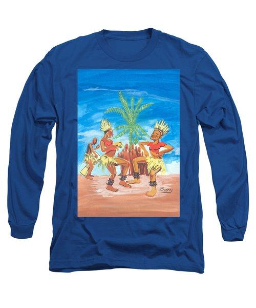 Long Sleeve T-Shirt featuring the painting Bikutsi Dance 3 From Cameroon by Emmanuel Baliyanga