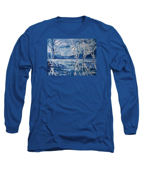 Birches In Blue Long Sleeve T-Shirt by Ellen Levinson