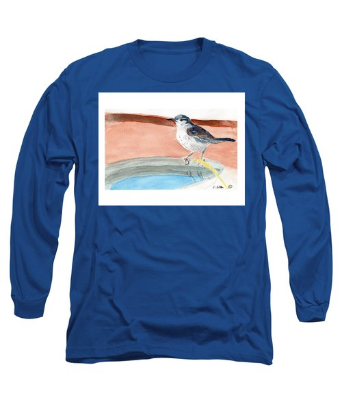 Long Sleeve T-Shirt featuring the painting Bird Bath by C Sitton