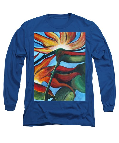 Long Sleeve T-Shirt featuring the painting Bird Of Paradise by Jolanta Anna Karolska