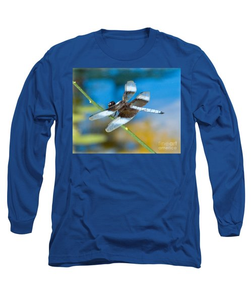 Long Sleeve T-Shirt featuring the photograph Black And White Dragonfly by Mae Wertz