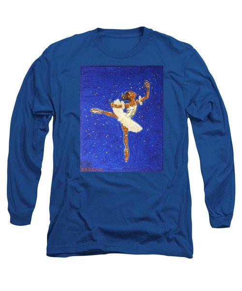 Black Ballerina Long Sleeve T-Shirt by Stormm Bradshaw