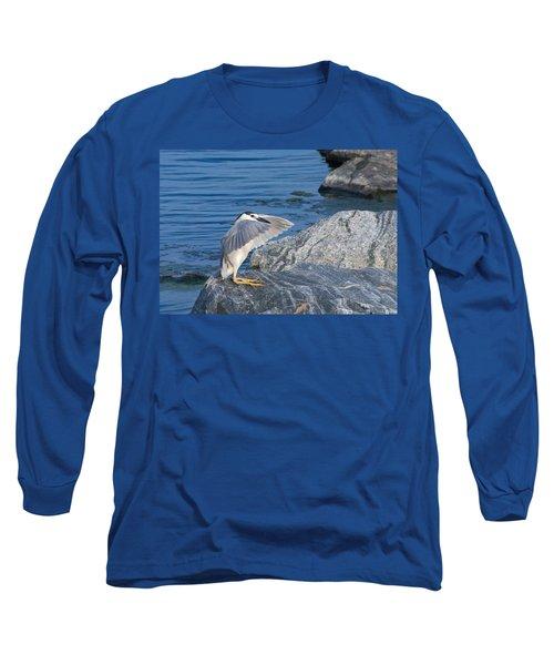 Black Crowned Night Heron Long Sleeve T-Shirt