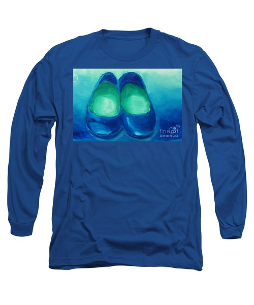 Long Sleeve T-Shirt featuring the painting Blue Flats by Marisela Mungia