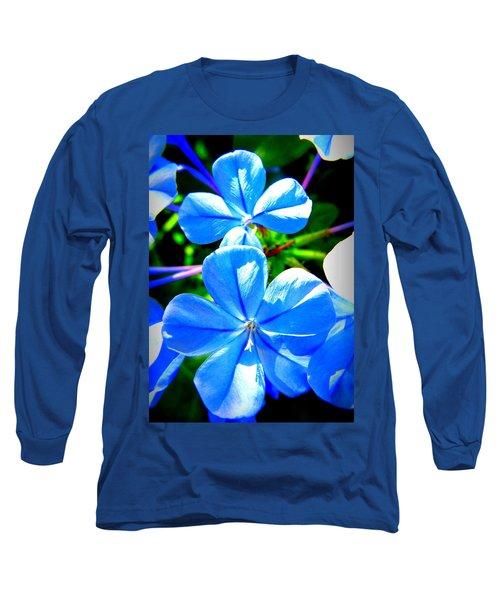 Blue Flower Long Sleeve T-Shirt by David Mckinney