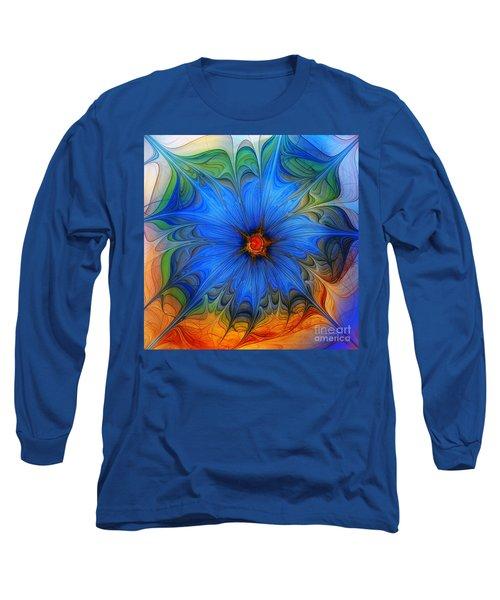 Blue Flower Dressed For Summer Long Sleeve T-Shirt by Karin Kuhlmann