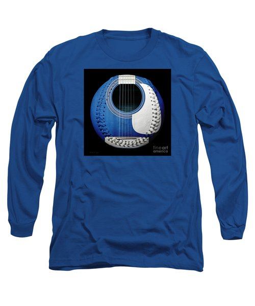 Long Sleeve T-Shirt featuring the photograph Blue Guitar Baseball White Laces Square by Andee Design