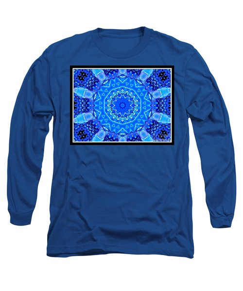 Long Sleeve T-Shirt featuring the photograph Blue Hydrangeas Flower Kaleidoscope by Rose Santuci-Sofranko