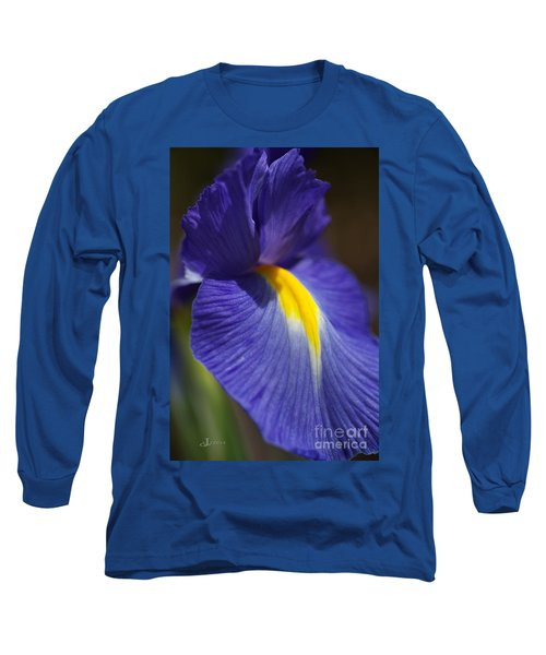 Blue Iris With Yellow Long Sleeve T-Shirt