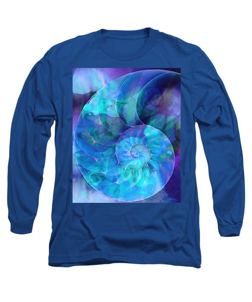 Blue Nautilus Shell By Sharon Cummings Long Sleeve T-Shirt