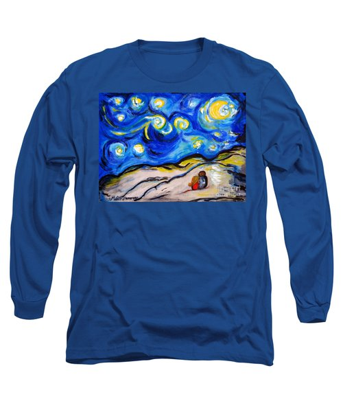 Long Sleeve T-Shirt featuring the painting Blue Night by Ramona Matei