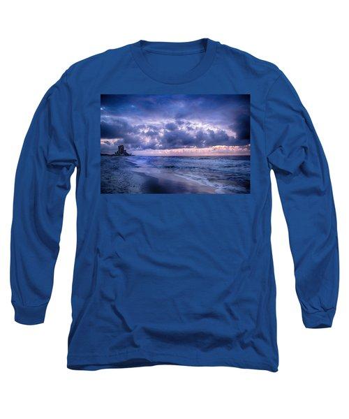 Blue Orange Beach Long Sleeve T-Shirt by Michael Thomas