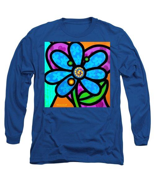 Blue Pinwheel Daisy Long Sleeve T-Shirt
