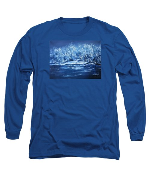 Long Sleeve T-Shirt featuring the painting Blue Silence by Vesna Martinjak