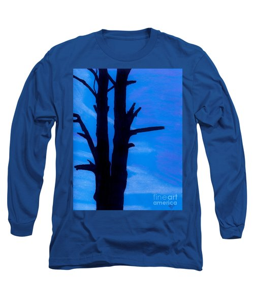 Long Sleeve T-Shirt featuring the drawing Blue Sky Tree by D Hackett