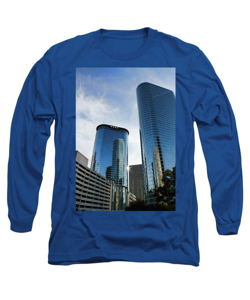 Blue Skyscrapers Long Sleeve T-Shirt by Judy Vincent