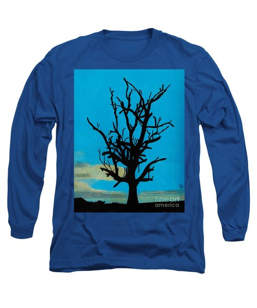 Long Sleeve T-Shirt featuring the drawing Blue Sunset by D Hackett
