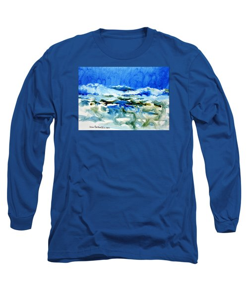 Blue Surf Long Sleeve T-Shirt by Joan Hartenstein
