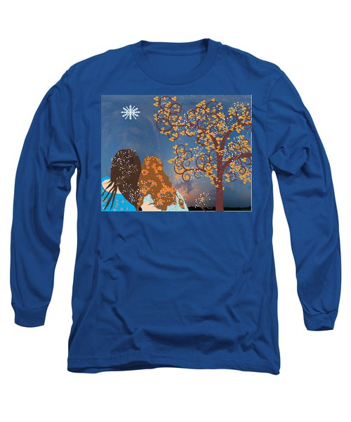 Blue Swirl Girls Long Sleeve T-Shirt by Kim Prowse