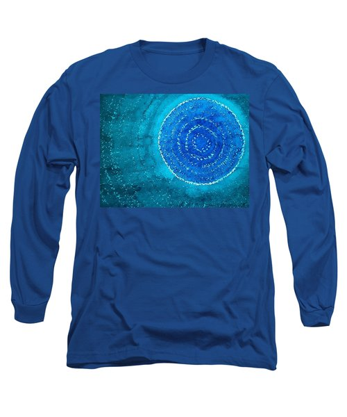 Blue World Original Painting Long Sleeve T-Shirt by Sol Luckman