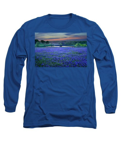 Bluebonnet Lake Vista Texas Sunset - Wildflowers Landscape Flowers Pond Long Sleeve T-Shirt by Jon Holiday
