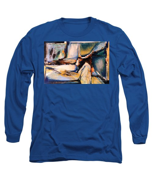 Blues And Orange Long Sleeve T-Shirt by Glory Wood