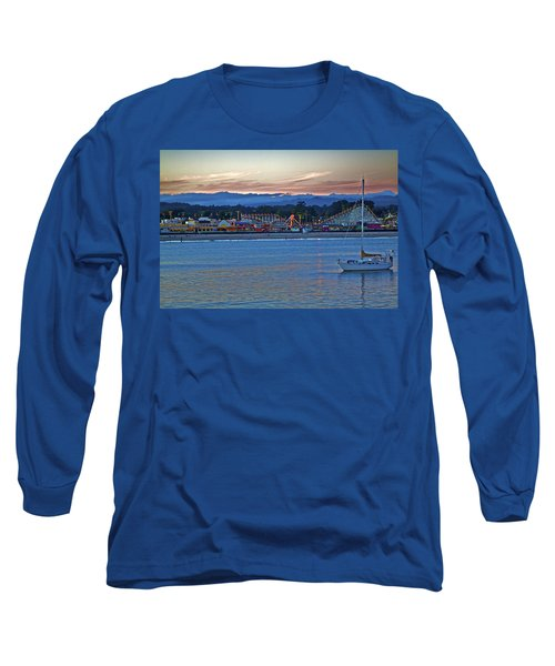 Boat At Dusk Santa Cruz Boardwalk Long Sleeve T-Shirt
