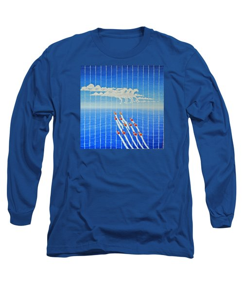 Boat Race Horse Clouds Long Sleeve T-Shirt