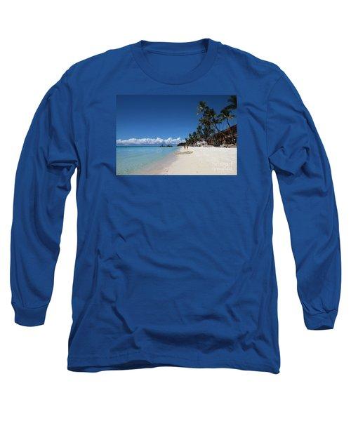 Long Sleeve T-Shirt featuring the photograph Boracay Beach by Joey Agbayani
