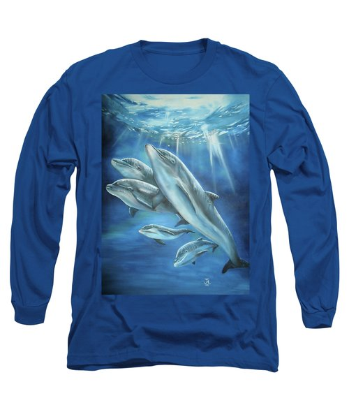 Bottlenose Dolphins Long Sleeve T-Shirt by Thomas J Herring