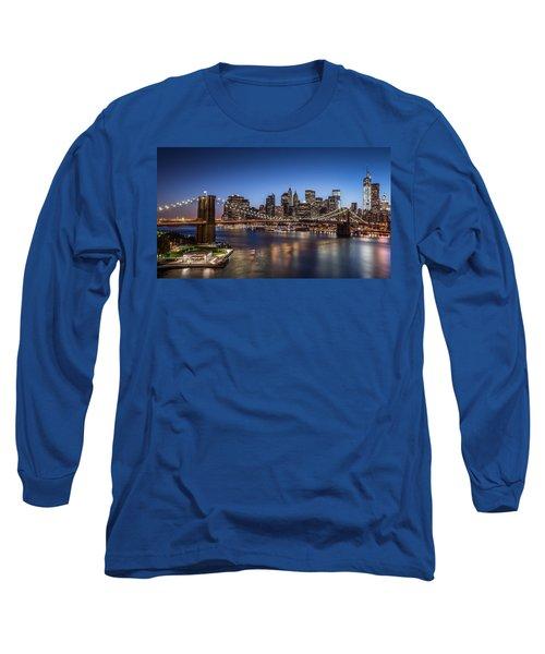 Brooklyn Bridge Long Sleeve T-Shirt by Mihai Andritoiu