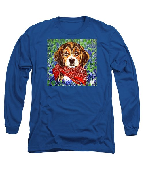 Buddy Dog Beagle Puppy Western Wildflowers Basset Hound  Long Sleeve T-Shirt