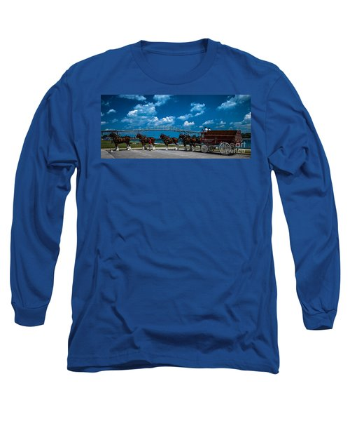 Budweiser Clydsdales And Blue Water Bridges Long Sleeve T-Shirt