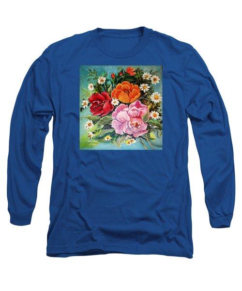 Bunch Of Flowers Long Sleeve T-Shirt by Yolanda Rodriguez