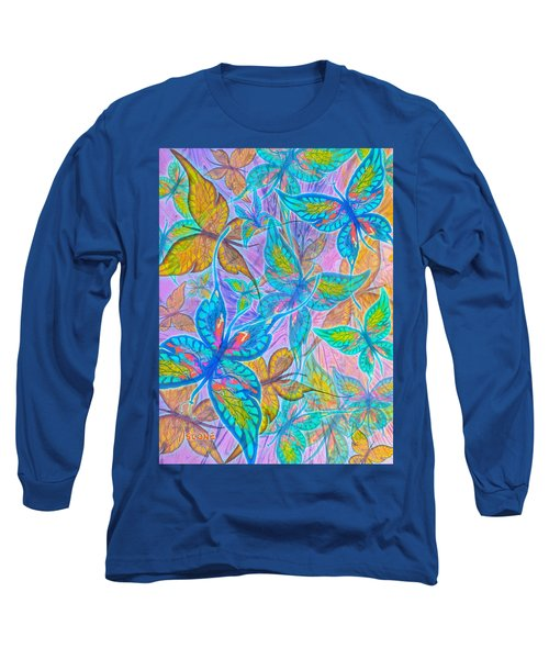 Long Sleeve T-Shirt featuring the mixed media Butterflies On Lilac by Teresa Ascone