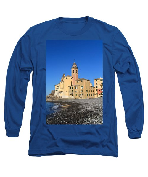 Long Sleeve T-Shirt featuring the photograph Camogli Seaside And Church by Antonio Scarpi