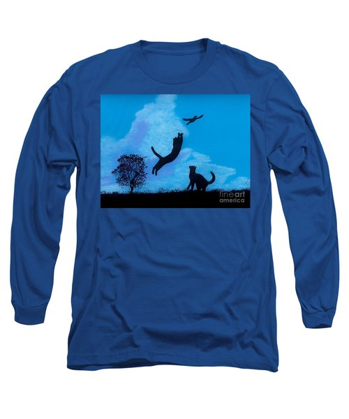 Long Sleeve T-Shirt featuring the drawing Cats -  Playing by D Hackett