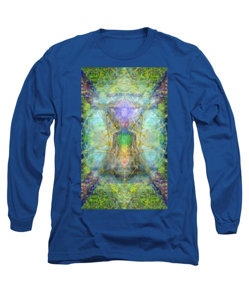 Chakra Tree Anatomy With Mercaba In Chalice Garden Long Sleeve T-Shirt