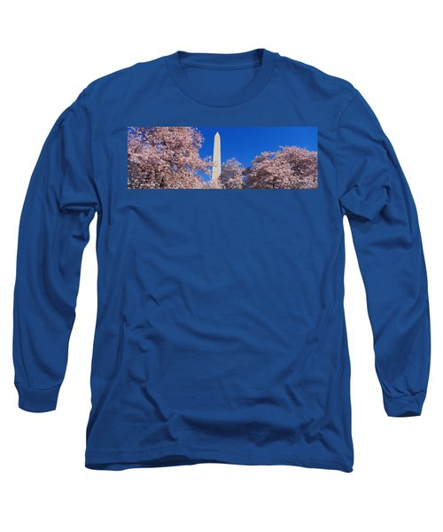 Cherry Blossoms Washington Monument Long Sleeve T-Shirt by Panoramic Images