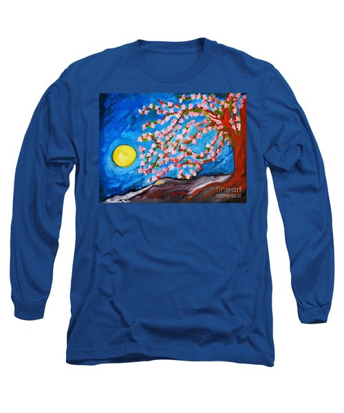 Long Sleeve T-Shirt featuring the painting Cherry Tree In Blossom  by Ramona Matei