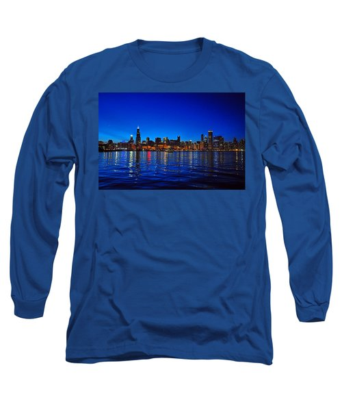 Chicago Skyline At Dusk Long Sleeve T-Shirt