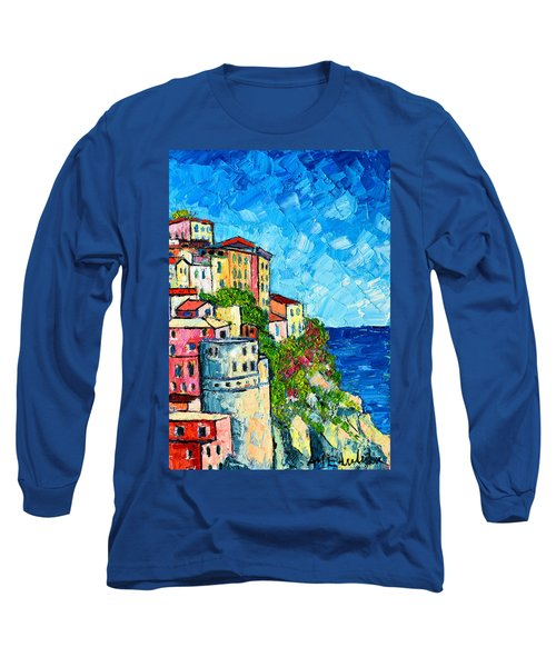 Cinque Terre Italy Manarola Painting Detail 3 Long Sleeve T-Shirt