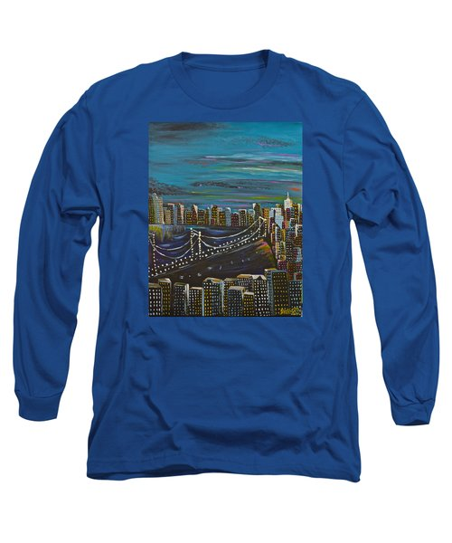 Long Sleeve T-Shirt featuring the painting Citiscape by Donna Blossom