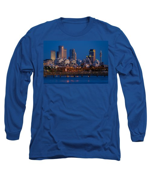city lights and blue hour at Tel Aviv Long Sleeve T-Shirt