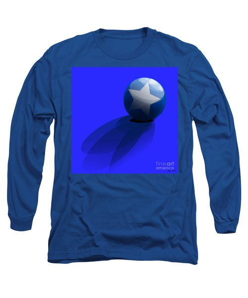 Long Sleeve T-Shirt featuring the digital art Blue Ball Decorated With Star Grass Blue Background by R Muirhead Art
